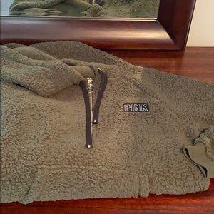 PINK Sherpa half zip hoodie